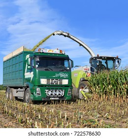 Kalush, Ukraine September 14, 2017: Harvesting of corn silage in the field near the town of Kalush, Western Ukraine .