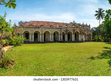 KALUTARA, SRI LANKA - JANUARY 17, 2019: Richmond House historical mansion, with front lawn, in high definition on a bright sunny day.