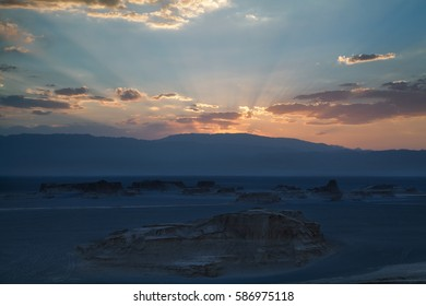 Kaluts desert ( also known as Dasht-e Loot ) at sunset, south eastern Iran