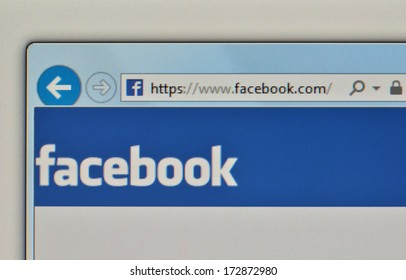 KALVEHAVE, DENMARK - December 28, 2013: Photo of  the Facebook website, opening page, where you can sign in.