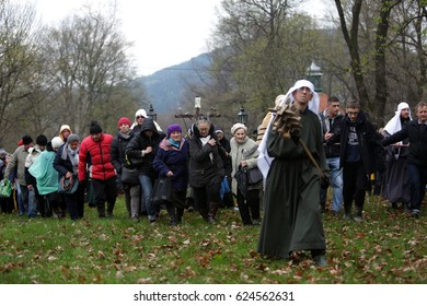 KALWARIA ZEBRZYDOWSKA, POLAND - APRIL 13: Easter in Poland, unidentified participants in religious procession on Good Thursday on april 13, 2017 in pilgrimage destination Kalwaria Zebrzydowska, Poland