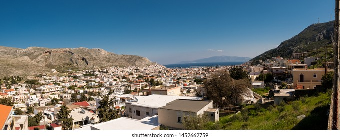 Kalymnos chora, Pothia, as seen from the castle of Pothia, on a beautiful day, Dodecanese, Greece