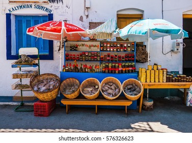 Kalymnos, Greece - August 12, 2016: Spice stand and souvenir shop in Kalymnos, a Greek island in the southeastern Aegean Sea.