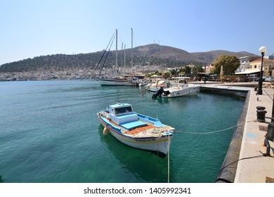 Kalymnos, Greece - September 16, 2017:A view of a port in Kalymnos, Greece