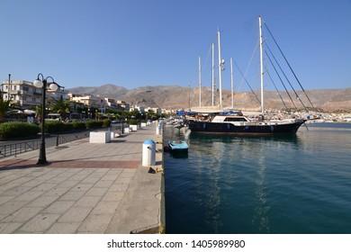 Kalymnos, Greece-September 16, 2017:A beautiful wood ship at the port of Pothia, Kalymnos, Greece