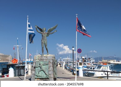 Kalymnos island at Dodecanese in Greece. Statue of Nike