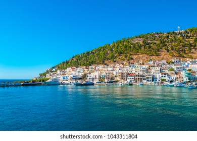 Kalymnos island, Greece - 1 September 2017: View to Old Fortress of Pothia - capital of Kalymnos, world sponge center, Kalymnos island, Dodecanese, Greece, September 2017