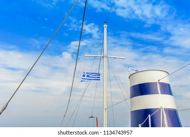 Kalymnos Island, Greece; 22 October 2010: Greece Flag on Ship