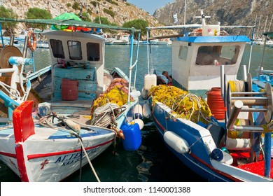 Kalymnos Island, Greece - August 07, 2015 : Fishing boats at the port of Kalymnos town. Kalymnos island.