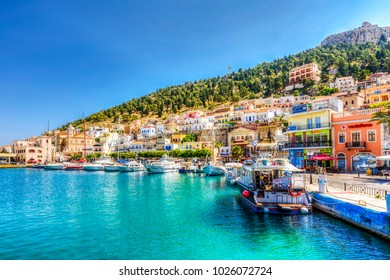 Kalymnos Island, Greece - June 05, 2017 : Kalymnos harbour view from sea. Kalymnos Island is populer tourist destination in Greece.