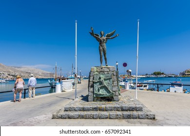 Kalymnos Island, Greece - June 05, 2017 : The Nike Statue in Kalymnos Island.Kalymnos Island is popular tourist destination in Greece.