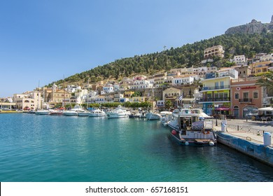 Kalymnos Island, Greece - June 05, 2017 : Kalymnos harbour view from sea. Kalymnos Island is a popular tourist destination in Greece.