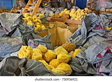 KALYMNOS ISLAND, GREECE- June 21, 2014. Natural sea sponges, in the workshop-warehouse of Mr. Manolis Makryllos, at Pothia town, Kalymnos island, Dodecanese, Greece