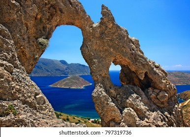"KALYMNOS ISLAND, GREECE. The ""Palace"" (""Palatia"") one of the most impressive rocky formations and a famous climbing field at Kalymnos island, Dodecanese."