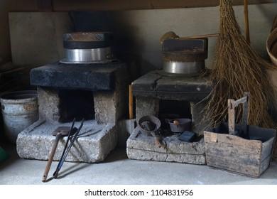 Kamado - japanese traditional kitchen range.