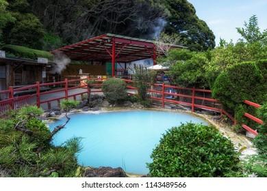 kamado jigoku or cooking pot hell hot springs geyser tour in Beppu, Japan