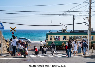 "KAMAKURA CITY, KANAGAWA / JAPAN - APRIL 28 2018 : ""Kamakura koko mae""  station of Enoshima Dentetsu Line is a famous spot used for film and drama location. There are also many foreign tourists."