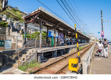 "KAMAKURA CITY, KANAGAWA / JAPAN - APRIL 28 2018 : ""Kamakura koko mae"" station of Enoshima Dentetsu Line is a famous spot used for film and drama location. There are also many foreign tourists."