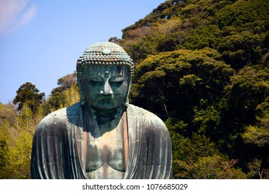 KAMAKURA, JAPAN - APRIL 8: The Great Buddha 8 April, 2018 at Kamakura, Japan. The Great Buddha is one of the symbols of Japan.