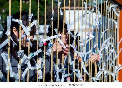 KAMAKURA, JAPAN - December 30, 2015: A japanese woman ties an omikuji (Fortune on preprinted slips of paper) at Tsurugaoka Hachimangu shrine in Kanagawa Prefecture