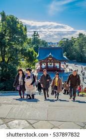 KAMAKURA, JAPAN - December 30, 2015: Japanese people visit Tsurugaoka Hachimangu shrine. This is the most important Shinto shrine located in Kanagawa Prefecture