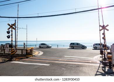Kamakura, JAPAN - Jan 2019: Famous Railroad crossing in front Kamakura Koko Mae station, the stage of many Animes & movies.