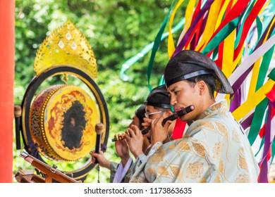 Kamakura, Japan - June 29, 2018: traditional Japan marry ceremony music in Tsurugaoka Hachimangu Shrine, Kamakura Japan.