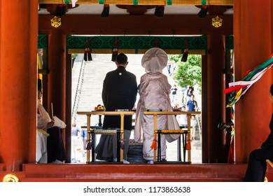Kamakura, Japan - June 29, 2018: traditional Japan marry ceremony in Tsurugaoka Hachimangu Shrine, Kamakura Japan.