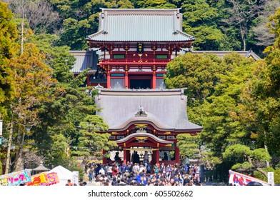 KAMAKURA, JAPAN - MAR 20:Tsurugaoka Hachimangu Shrine, March 20, 2017 in Kamakura, Japan. One the most important Shinto shrine in Kamakura and an Important Cultural Property of Japan.