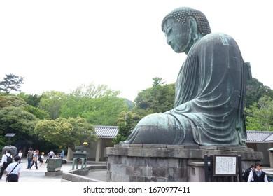 Kamakura, Japan – May 17,2018:Side view of the Great Buddha of Kamakura known as Daibutsu at the Kotokuin Temple in Kamakura Japan