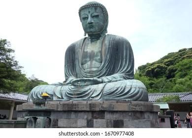 Kamakura, Japan – May 17,2018:The Great Buddha of Kamakura known as Daibutsu at the Kotokuin Temple in Kamakura Japan