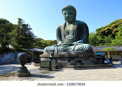 KAMAKURA JAPAN, MAY 2018 :The Kamakura Daibutsu( Great Buddha of Kamakura ) located on the grounds of the Kotokuin temple in Kamakura City