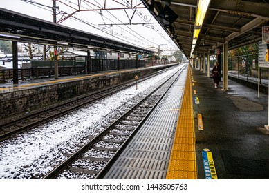 Kamakura, Japan - November 24, 2016 :  Snowing at kita-kamakura station . The kamakura city is famous for tourist come to visit Daibutsu Kamakura