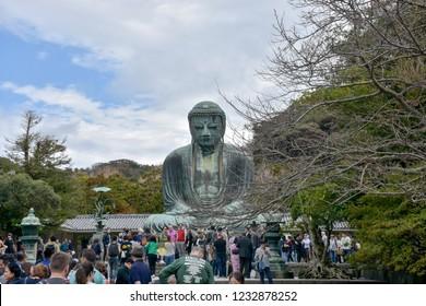 Kamakura Japan, Oct 27 2018 : Giant Buddha Daibutsu in Kamakura Japan.