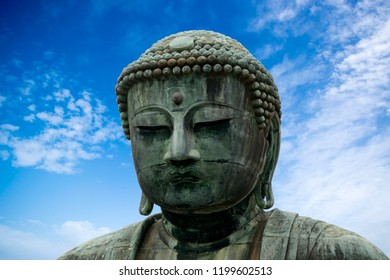 KAMAKURA, JAPAN - SEPTEMBER 25: The Great Buddha 25 September, 2018 at Kamakura, Japan. The Great Buddha is one of the symbols of Japan.