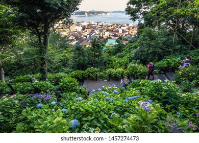 Kamakura - June 06, 2019: Panoramic view of Kamakura seen from Hasedera temple in Kamakura, Japan