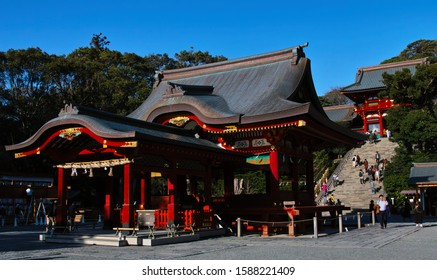 """KAMAKURA, KANAGAWA / JAPAN - DEC. 12, 2019: A View of the """"Maiden"""" Dance Stage at """"Tsurugaoka Hachiman-gu"""" Shinto Shrine; Traditional, Ceremonial Dances Are Performed on it on Special Occasions."""