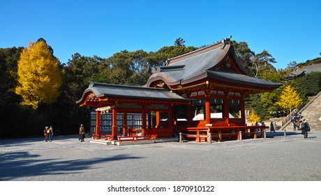 """KAMAKURA, KANAGAWA, JAPAN - DEC. 8, 2020: An Autumn View of the """"Maiden"""" Dance Stage at """"Tsurugaoka Hachiman-gu"""" Shinto Shrine; Traditional, Ceremonial Dances Are Performed on it on Special Occasions."""