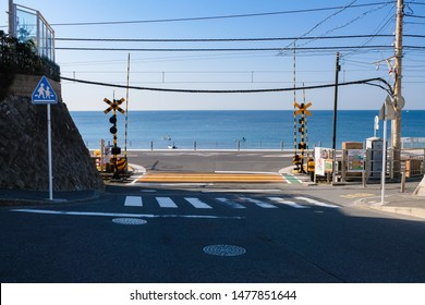Kamakura, Kanagawa, Japan, March 2019, Kamakura Koko mae Station, Railroad crossing