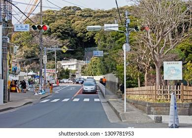 KAMAKURA ,KANAGAWA PREFECTURE ,JAPAN - MARCH 21, 2017 : Panoramic view of street city near Kotoku-in temple,Kamakura Daibutsu is the famous landmark located at the Kotoku-in temple.