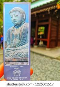 Kamakura, Kanagawa Prefecture, Japan - October 19, 2018: Kotoku-in Temple is a Buddhist temple that enshrines Kamakura Daibutsu (Great Buddha of Kamakura), a colossal copper image of Amida-butsu.