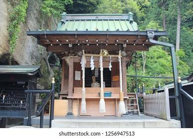 "Kamakura,Kanagawa prefecture,japan/Apr 16,2018:""Zeniarai Benzaiten Ugafuku Shrine"", It is God of Economic fortune."