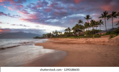 Kamaole Beach is a popular beach in Kihei and Wailei.  Photo at sunset with no people. Iconic Maui photo.