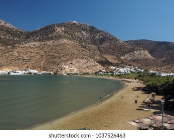 Kamares beach in port town on Sifnos Island Greece Cyclades