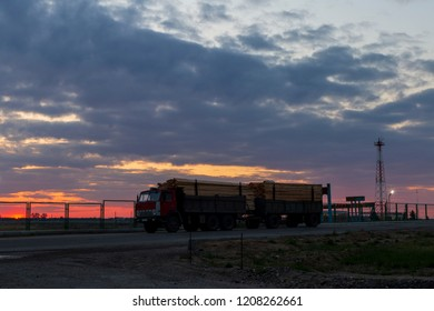 Kamaz loaded with sawn timber at the Russian-Kazakhstan border