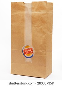 KAMBERK, CZECH REPUBLIC - NOVEMBER 25 , 2014 : The emblem of the small bag restaurant Burger King. Burger King, is a global chain of hamburger fast food restaurants.