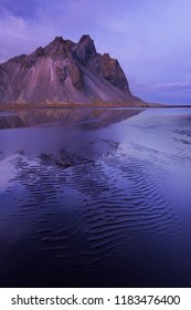 Kambhorn Mountain in twilight. Stokksnes, Iceland