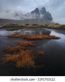 Kambhorn peak in clouds, Iceland