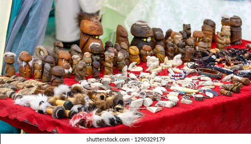 The Kamchatka Aboriginal souvenirs for sale on a red background