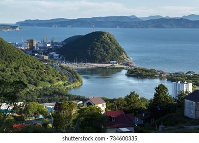 Kamchatka city landscape: view of central part of Petropavlovsk-Kamchatsky City, Avachinskaya Bay (Avacha Bay) and Pacific Ocean. Kamchatka Region, Russian Far East, Eurasia.